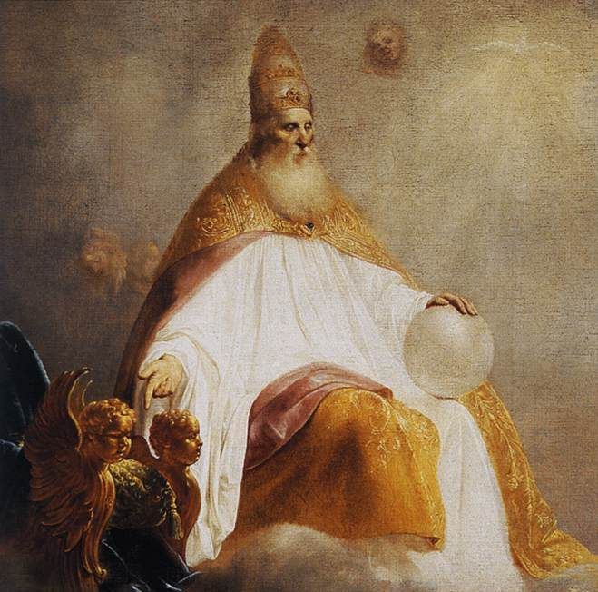 The Monad incarnate: Pieter de Grebber, God Inviting Christ to Sit on the Throne at His Right Hand, 1645 (detail), Museum Catharijneconvent Utrecht.