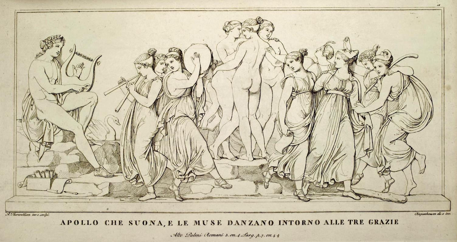 Apollo.  The Graces and the Muses . Depiction of the bas-relief by Bertel Thorvaldsen, 1811, drawn and engraved by Riepenhausen and Ferdinand Mori, from an album published in Rome, 1811. Source:  Heidelberg University Library