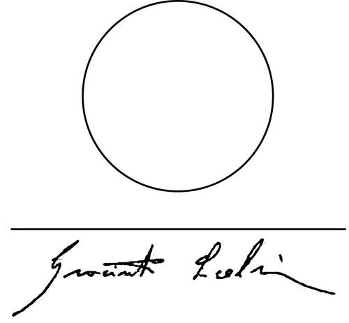 Signature of Giacinto Scelsi, reminiscent of Shen, Egyptian symbol of Infinity.