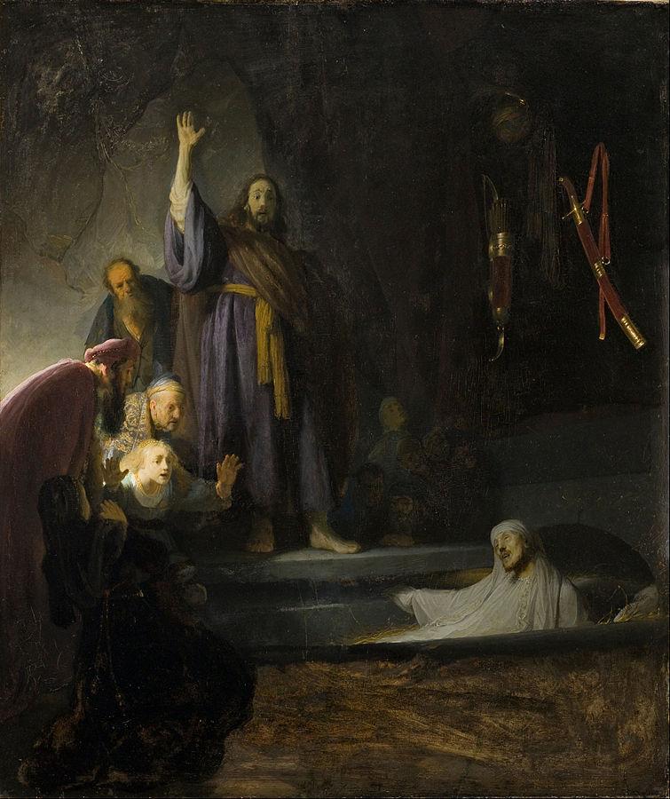 Rembrandt,  Raising of Lazarus , oil on panel, c. 1632, LA County Museum of Art