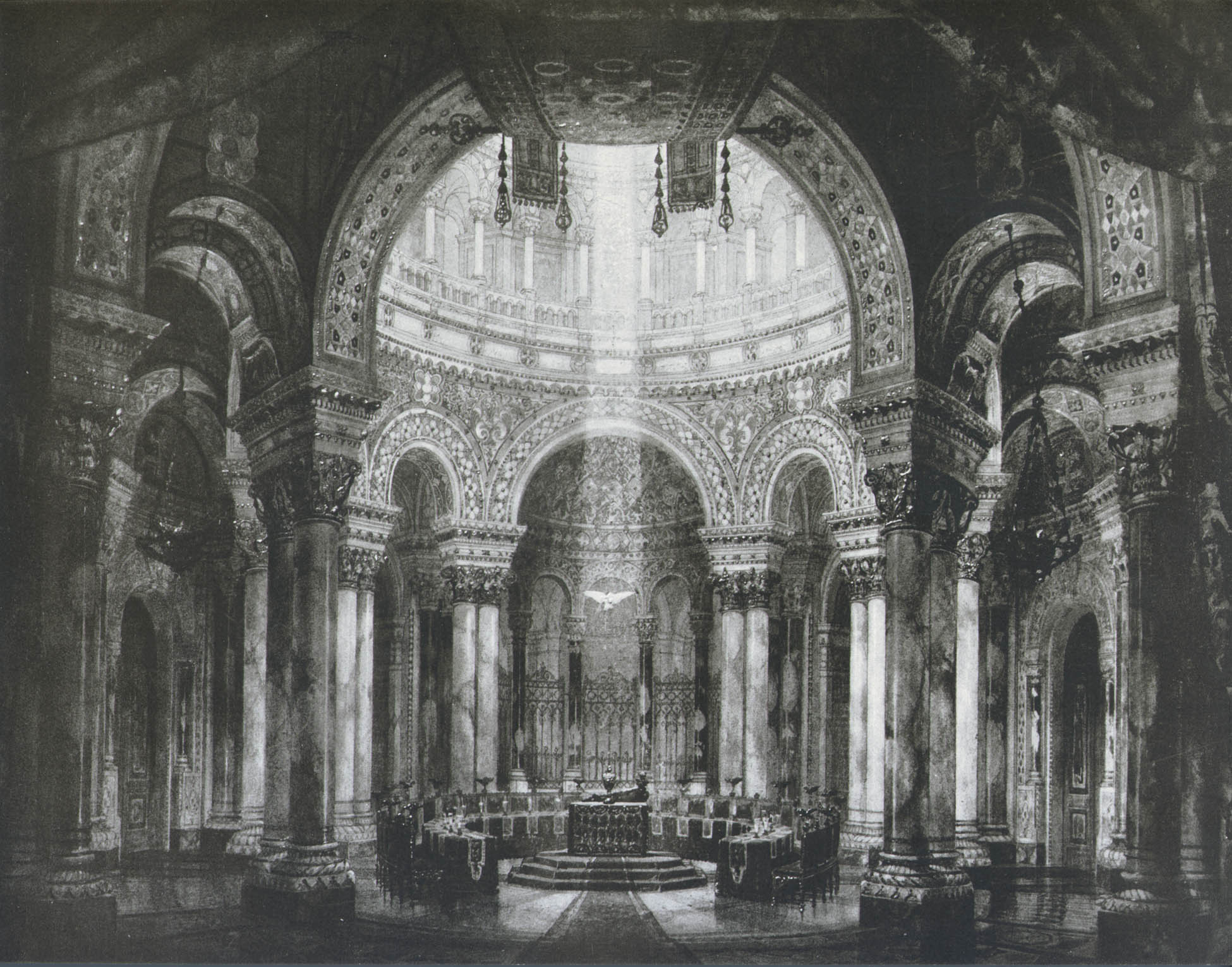 Temple of the Holy Grail, stage set by Paul von Joukowsky for the first Parsifal production at Bayreuth, 1882, Met Opera Archives