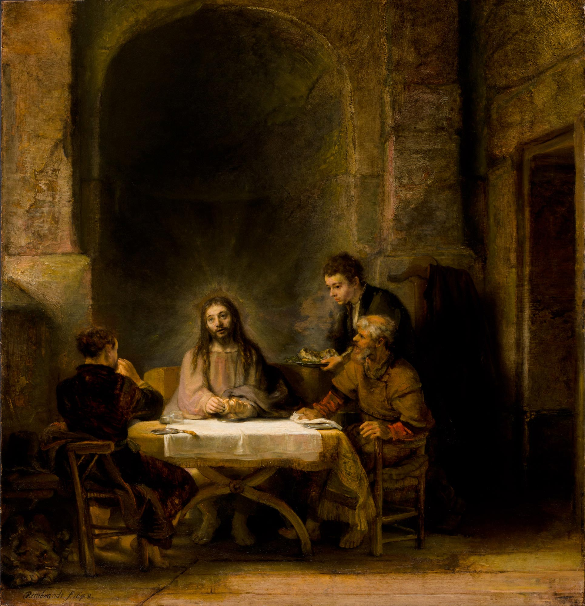 Rembrandt,  Pilgrims of Emmaus , or  The Supper at Emmaus , oil on mahogany, 1648, Louvre, Paris