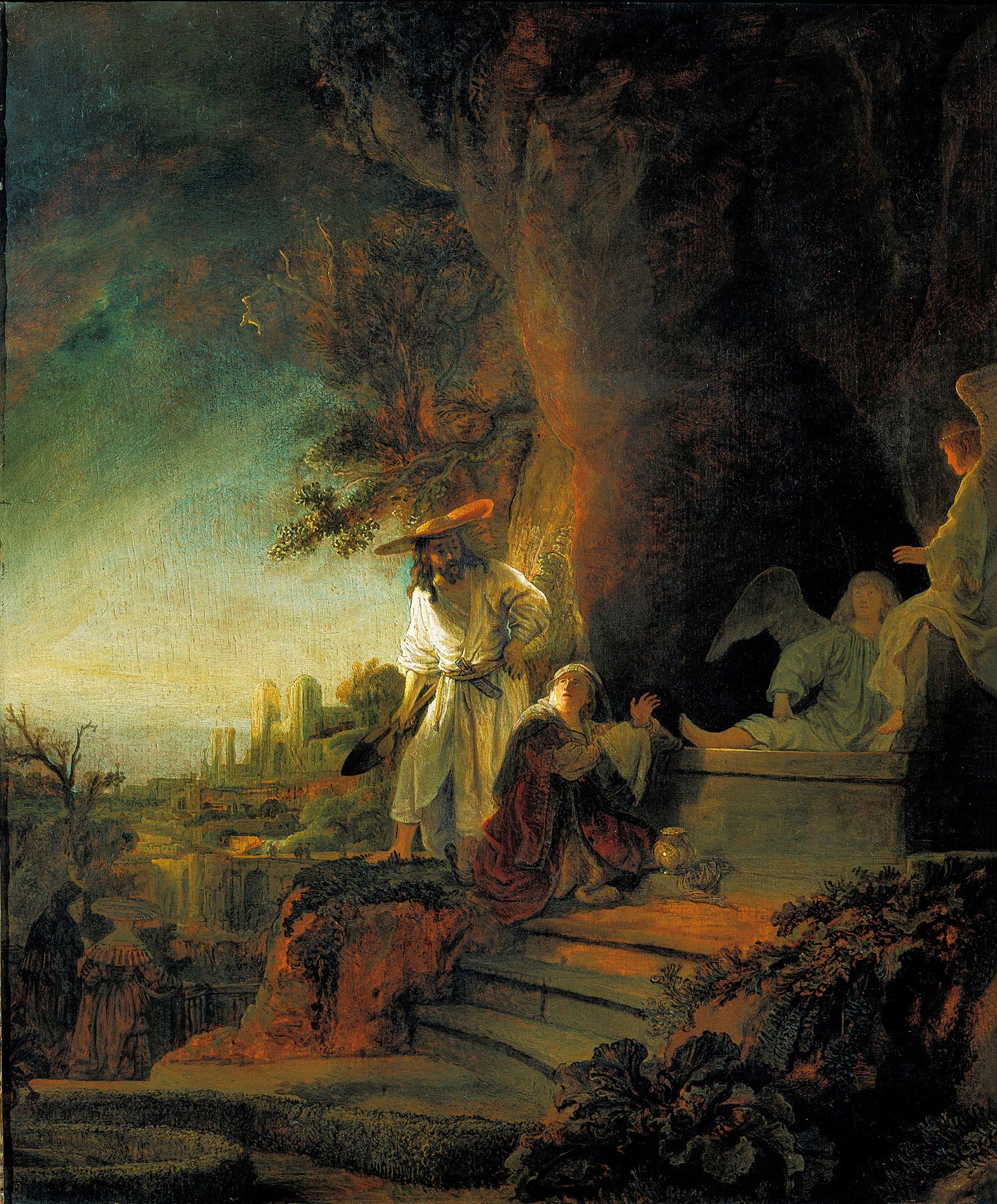 Rembrandt,  Christ and St. Mary Magdalene at the Tomb , oil on panel, 1638, Royal Collection, Windsor Castle, London