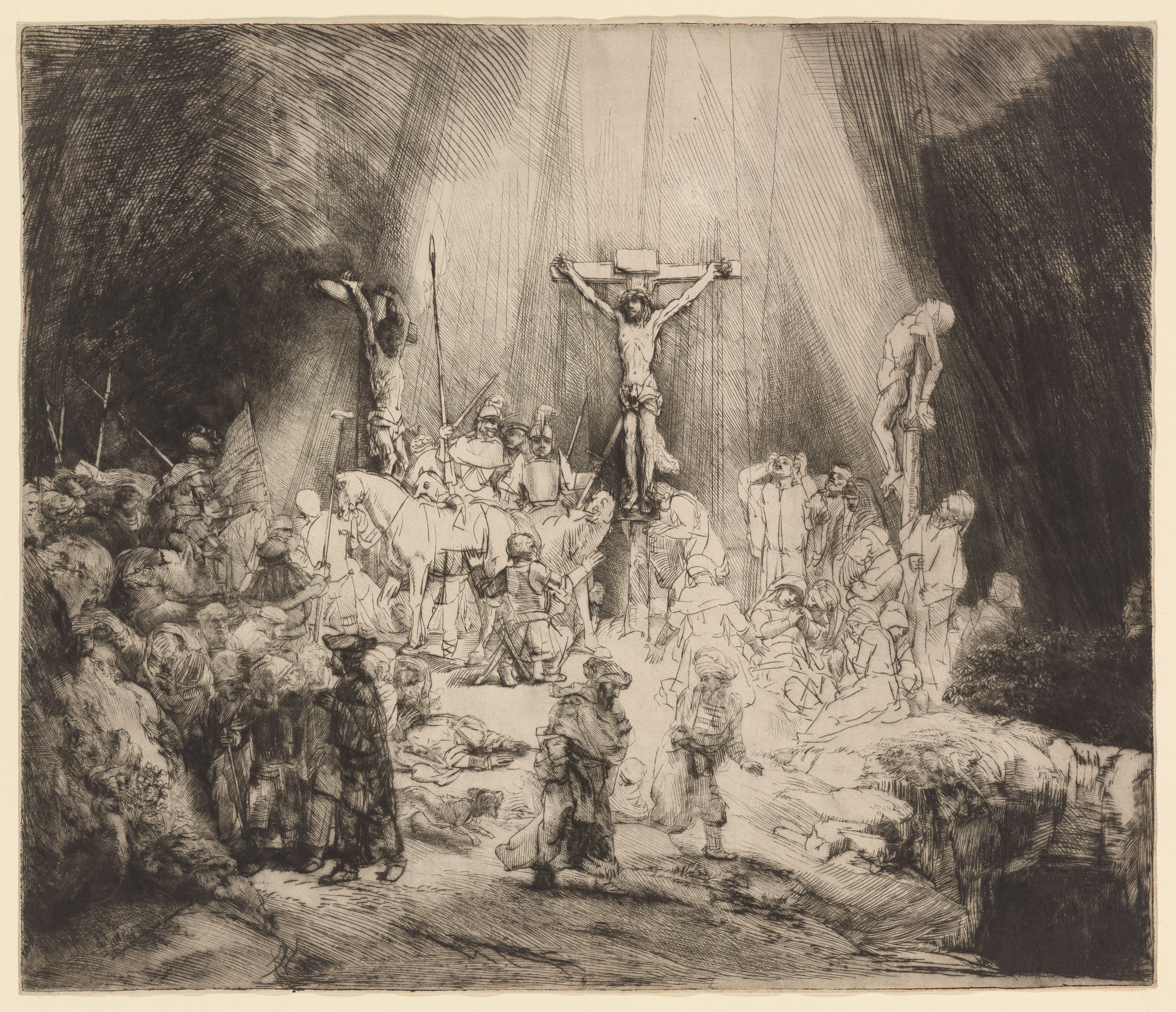 """Rembrandt,  Christ Crucified Between the Two Thieves (""""The Three Crosses"""") , drypoint, 1653, Museum of Fine arts, Boston"""