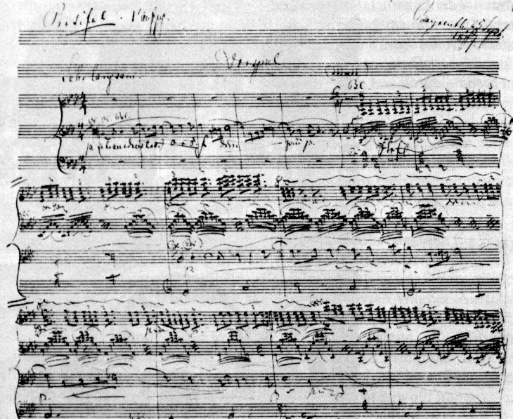 Wagner, page from his manuscript score to Parsifal, his crowning work which took him 25 years to create (conceived 1857, completed 1882)