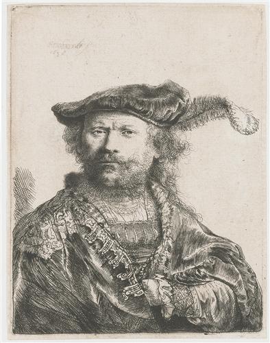 Rembrandt, Self-Portrait in Velvet Cap with Plume, etching, 1638, Metropolitan Museum of Art, New York