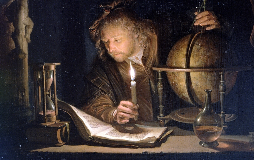 Image: Gerrit Dou,  Astronomer by Candlelight  (detal), 1650's, The J. Paul Getty Museum