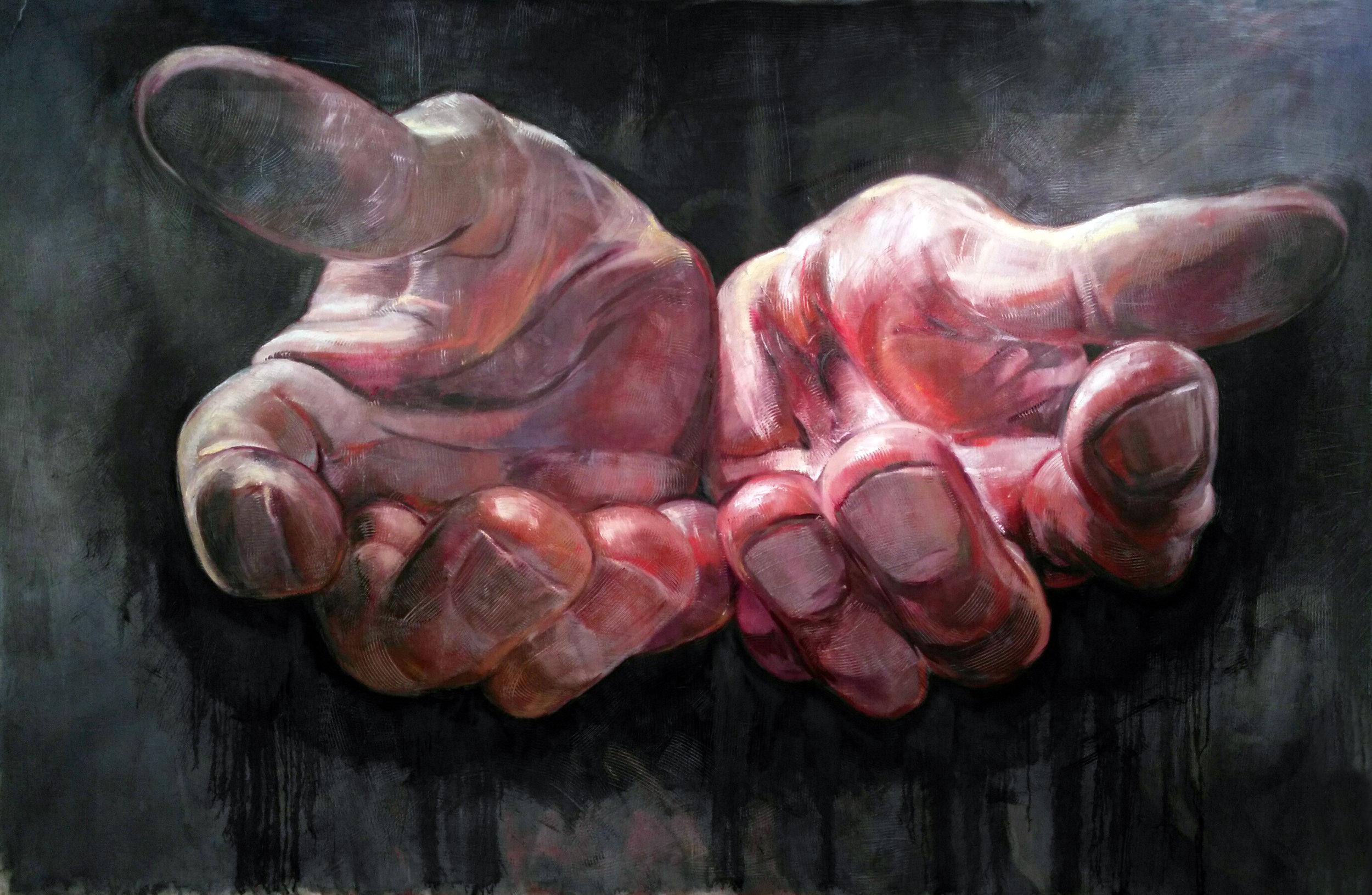 "Zhenya Gershman, ""Hands"", oil on canvas, 98 X 130 inches, 2016"