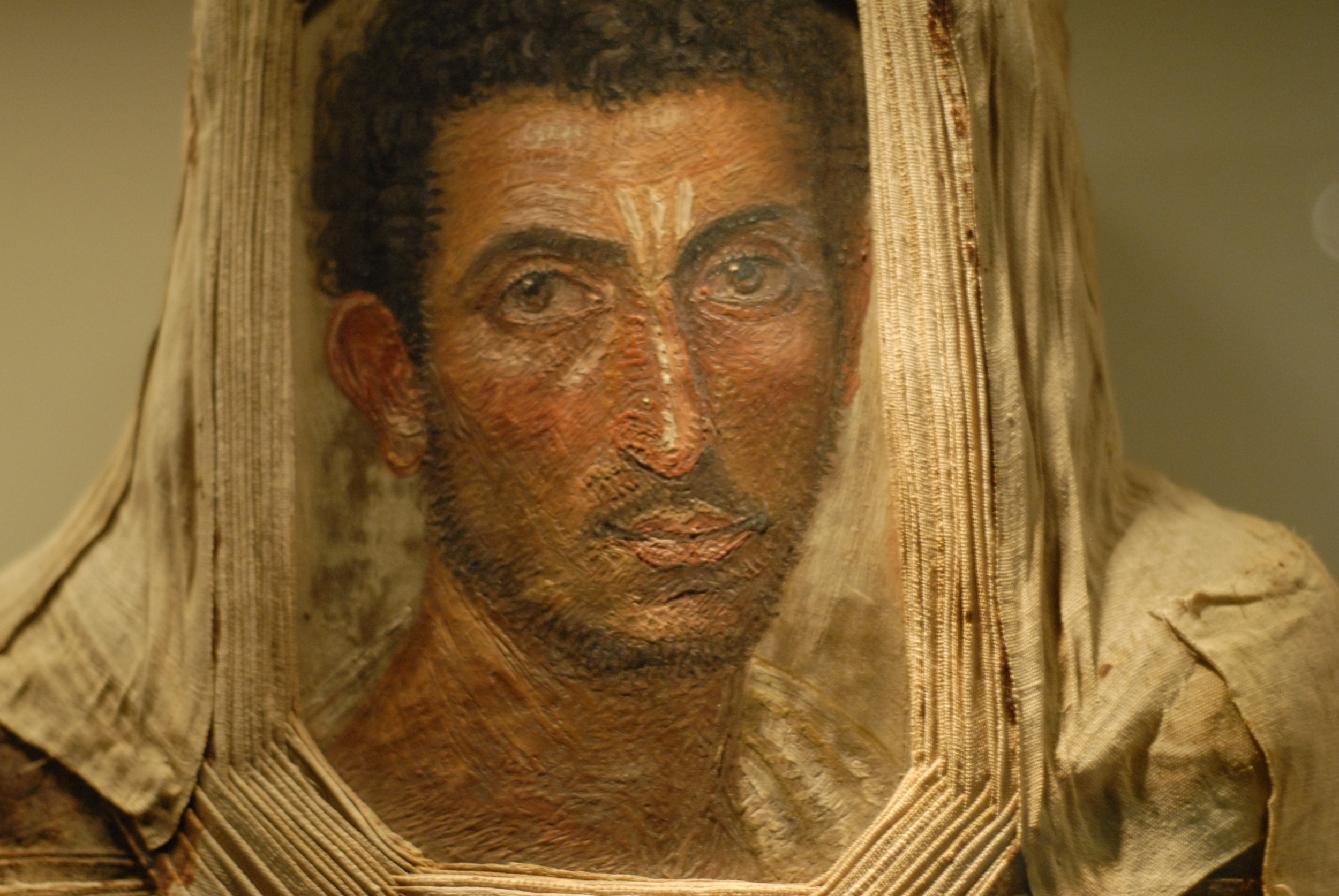 Mummy portrait of bearded man, encaustic on wood, circa 2nd century AD, Royal Museum of Scotland