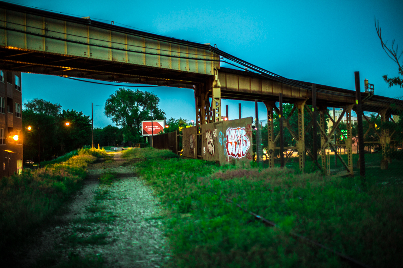 The trail in 2012 under The CTA Blue Line overpass near Milwaukee Avenue and Leavitt Avenue in Bucktown. Photo Courtesy of Chad Schurecht.