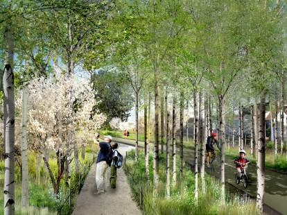Artist rendering of the 2.7 mile Bloomingdale Trail. Photo courtesy of The606.org
