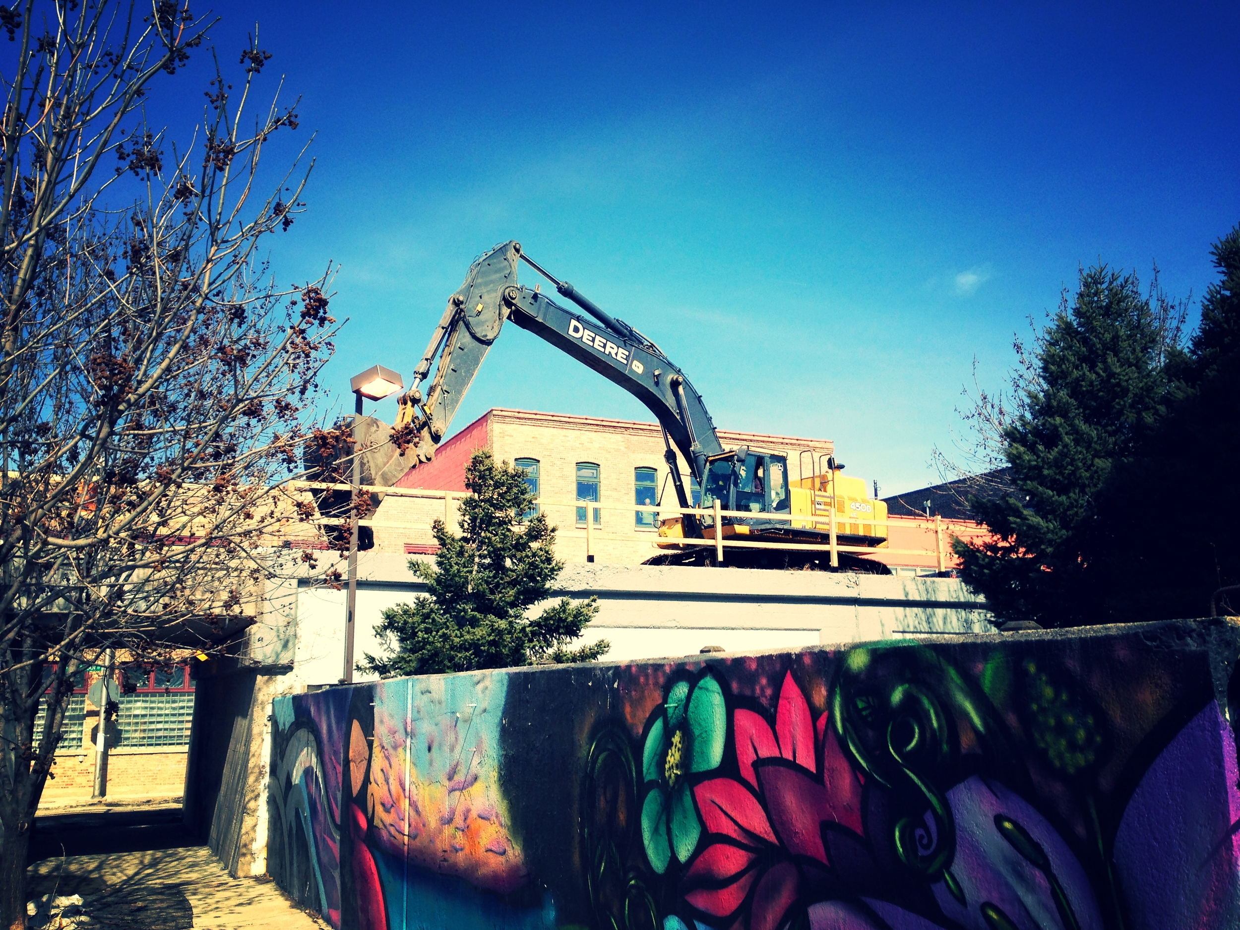 Construction crews at work in March in Humboldt Park.