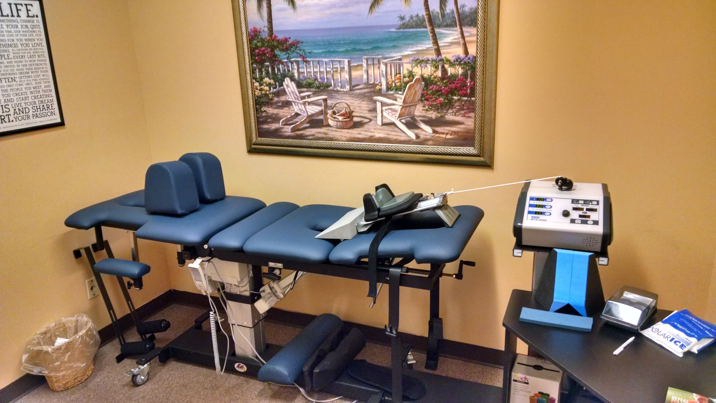 This is the setup for neck traction. The table can also be re-arranged for low back and mid back traction.