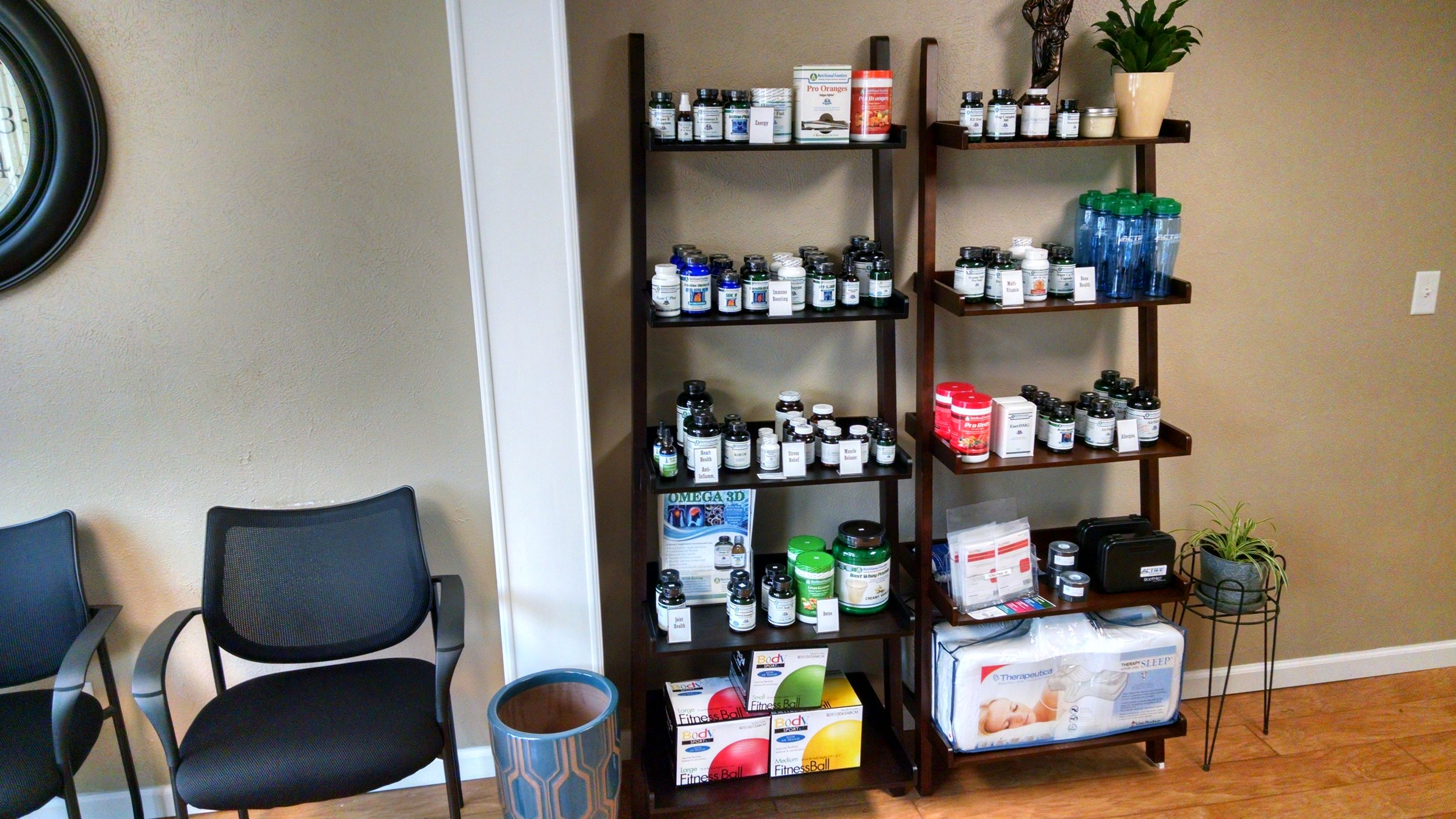 Chiropractic Pillows, Anti-Burst Exercise Balls, Biofreeze, Ice Packs, Supplements, and TENS Units.