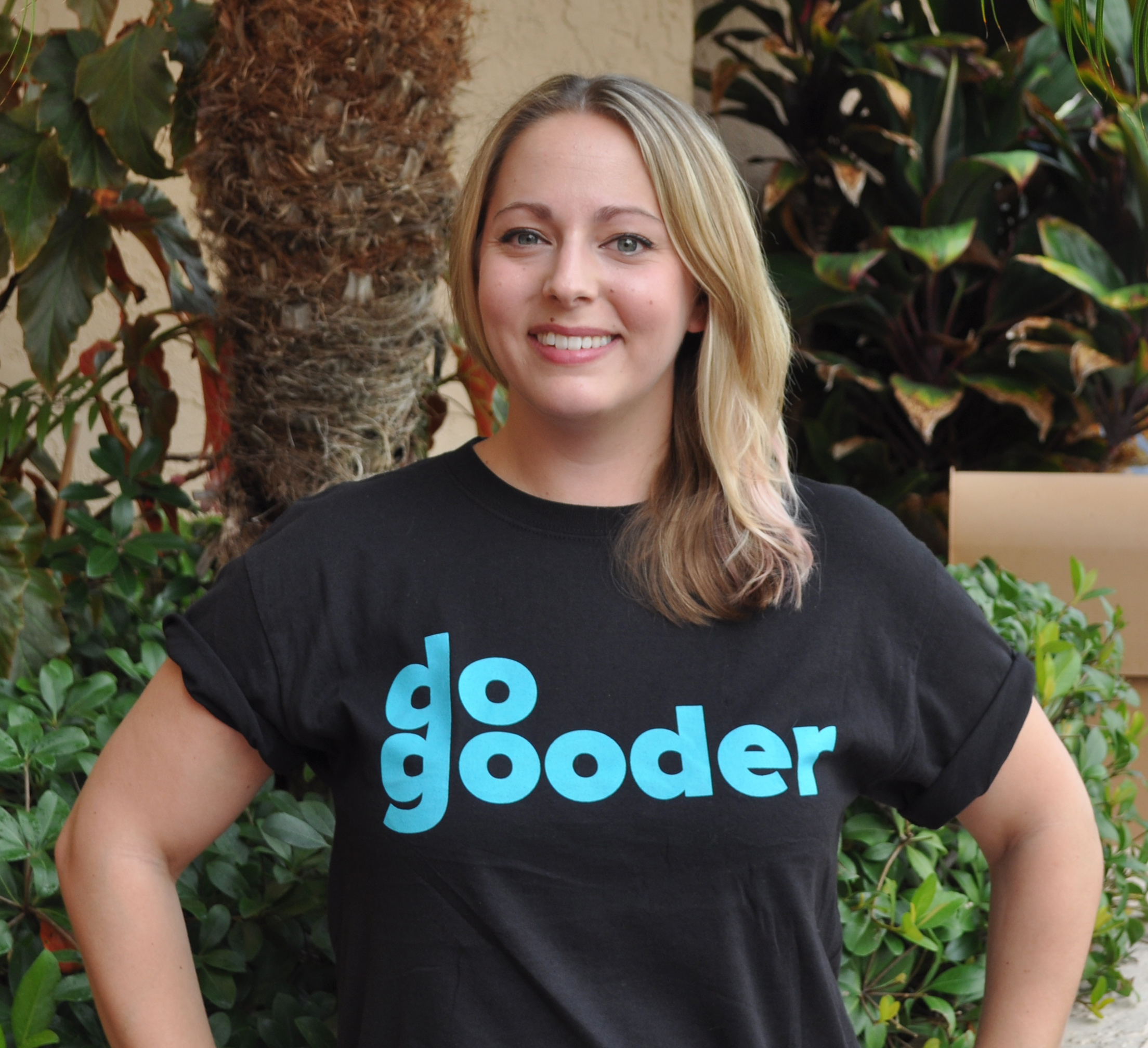 CEO and founding Do-Gooder, Katrina Crocker modeling the black Do-Gooder t-shirt
