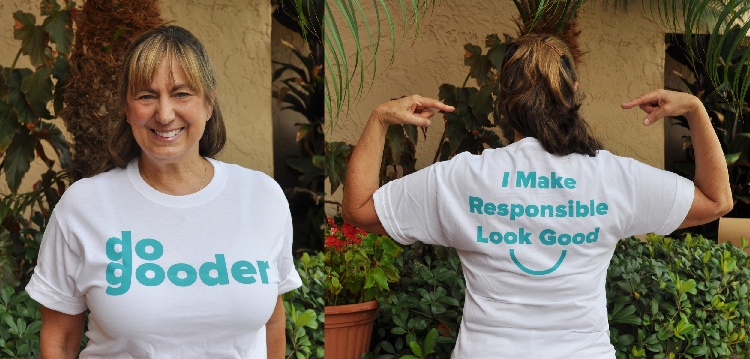 COO and founding Do-Gooder, Vicki Crocker modeling the white Do-Gooder t-shirt