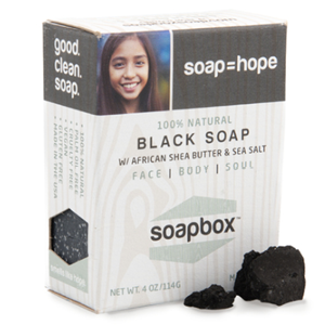 soapBox soaps   SoapBox Soaps donates one bar of soap, fresh water or vitamin supplements to a child in need for every bar purchased.       www.soapboxsoaps.com