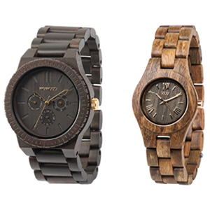 we wood   This company uses recycled and sustainable materials to craft their watches and for every watch you buy they plant a tree.     http://we-wood.us