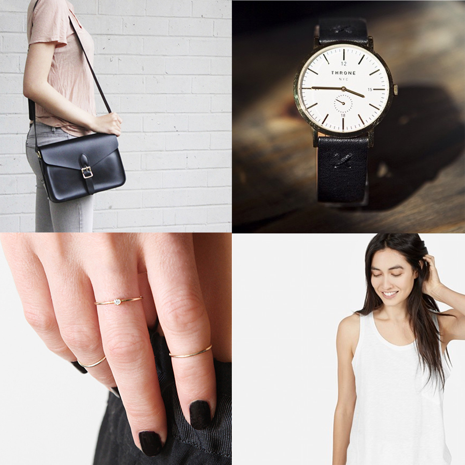 Top Row: left: Angela Roi, Right: Throne Watches. Bottom Row: left: Vrai & Oro, Right: Everlane