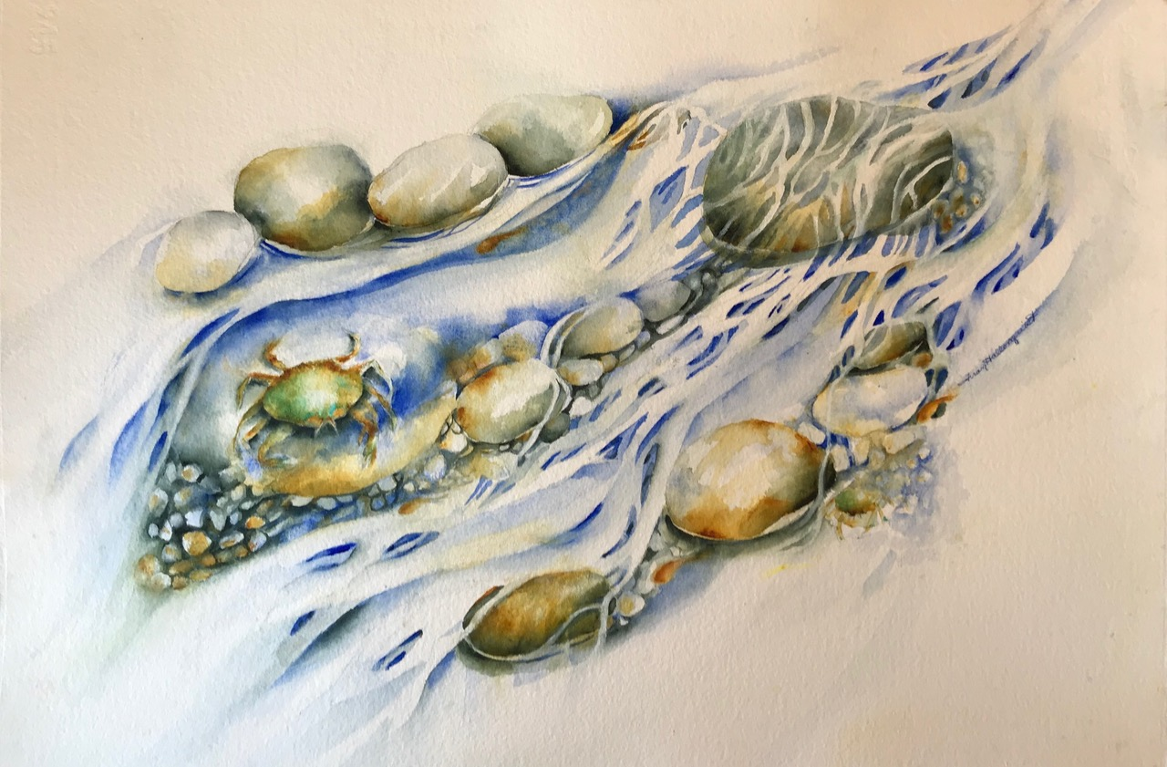 "Crab Pool 15""x22"" - Frances Hallonquist"