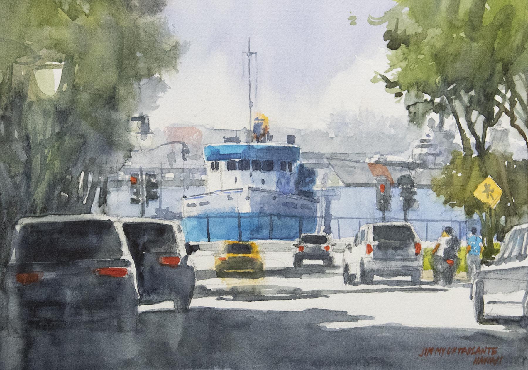 "The Blue Boat 12""x16"" - Jimmy Tablante"