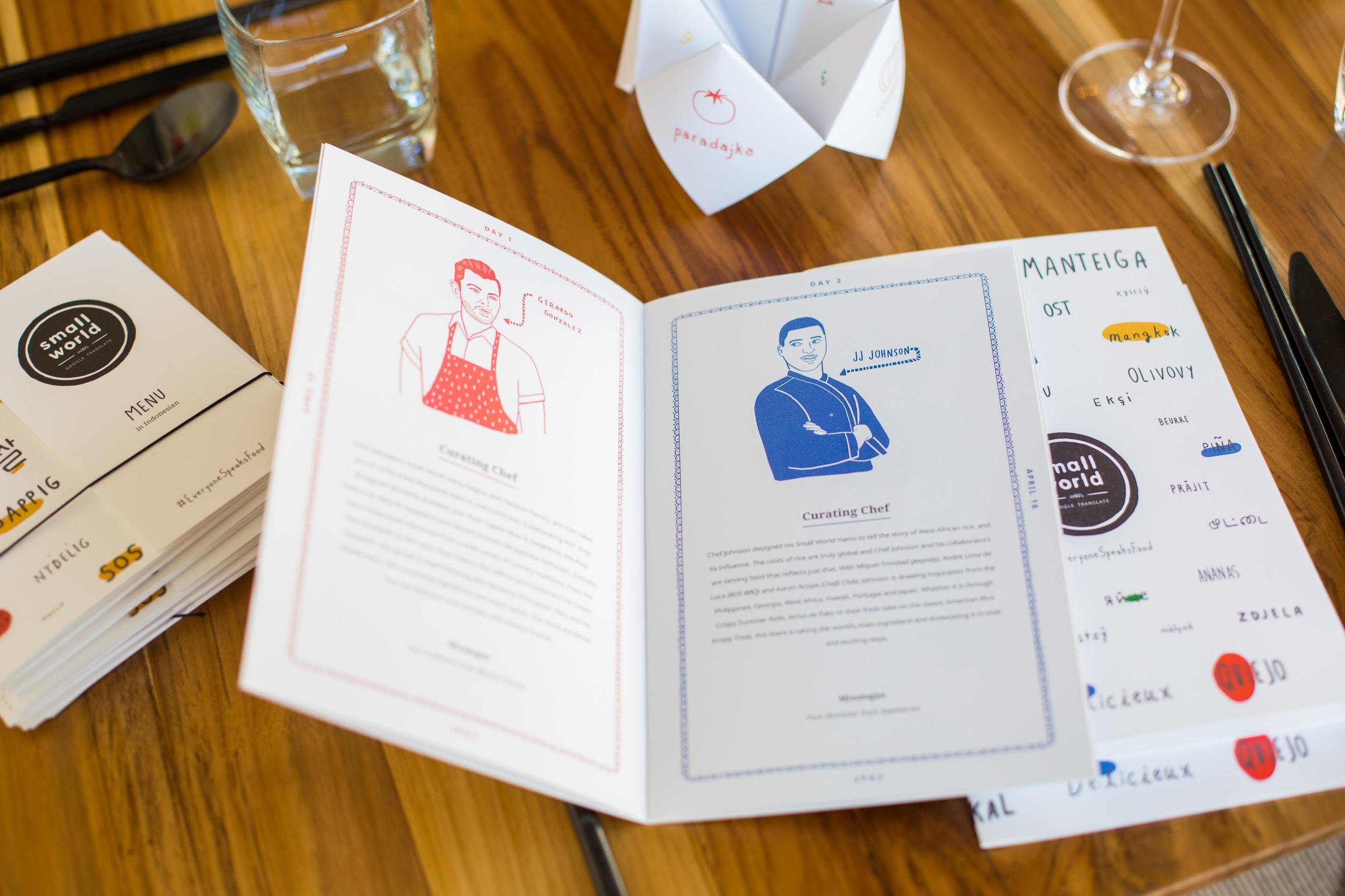 Chef Illustrations and Menu // Photo by Margarita Corporan