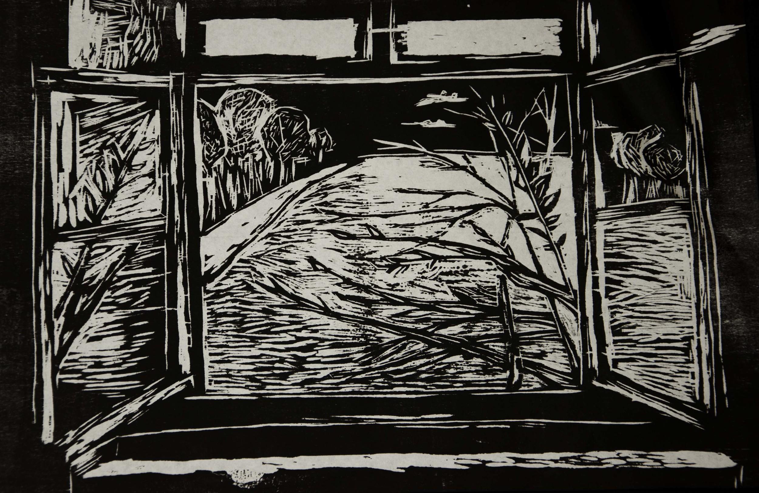 """New Beginning"" Woodcut. 2013."