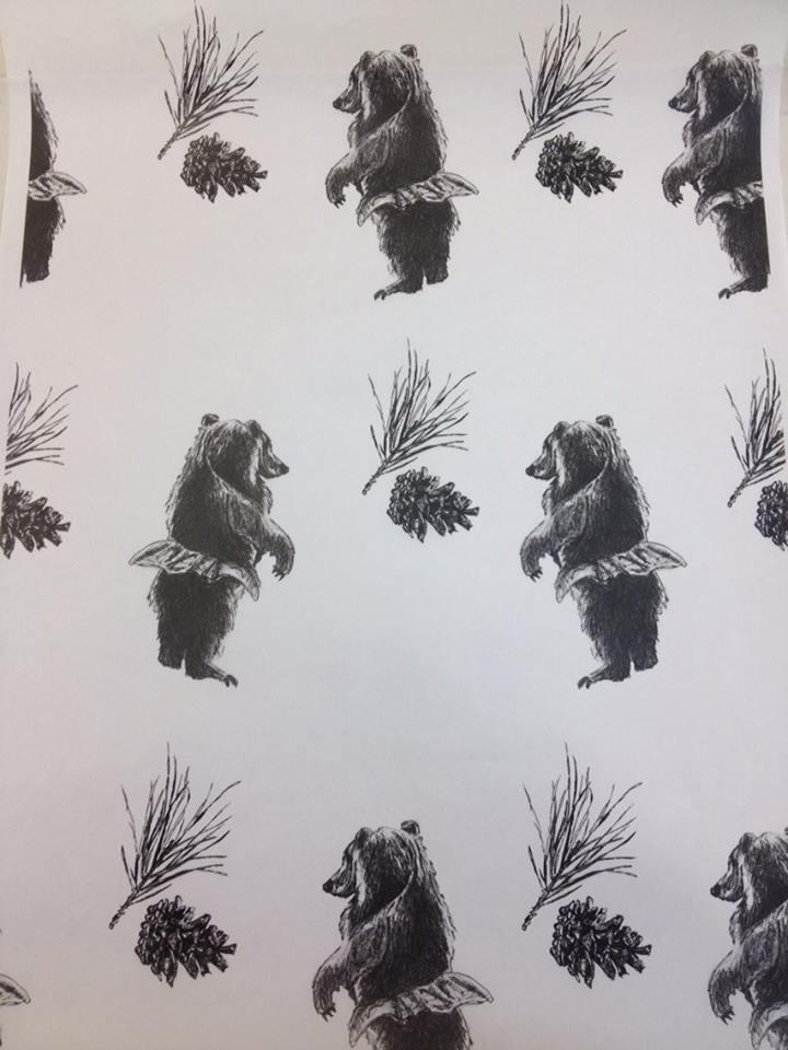 """""""Tutu Bear"""" Drawing. 18""""x24"""". 2014"""