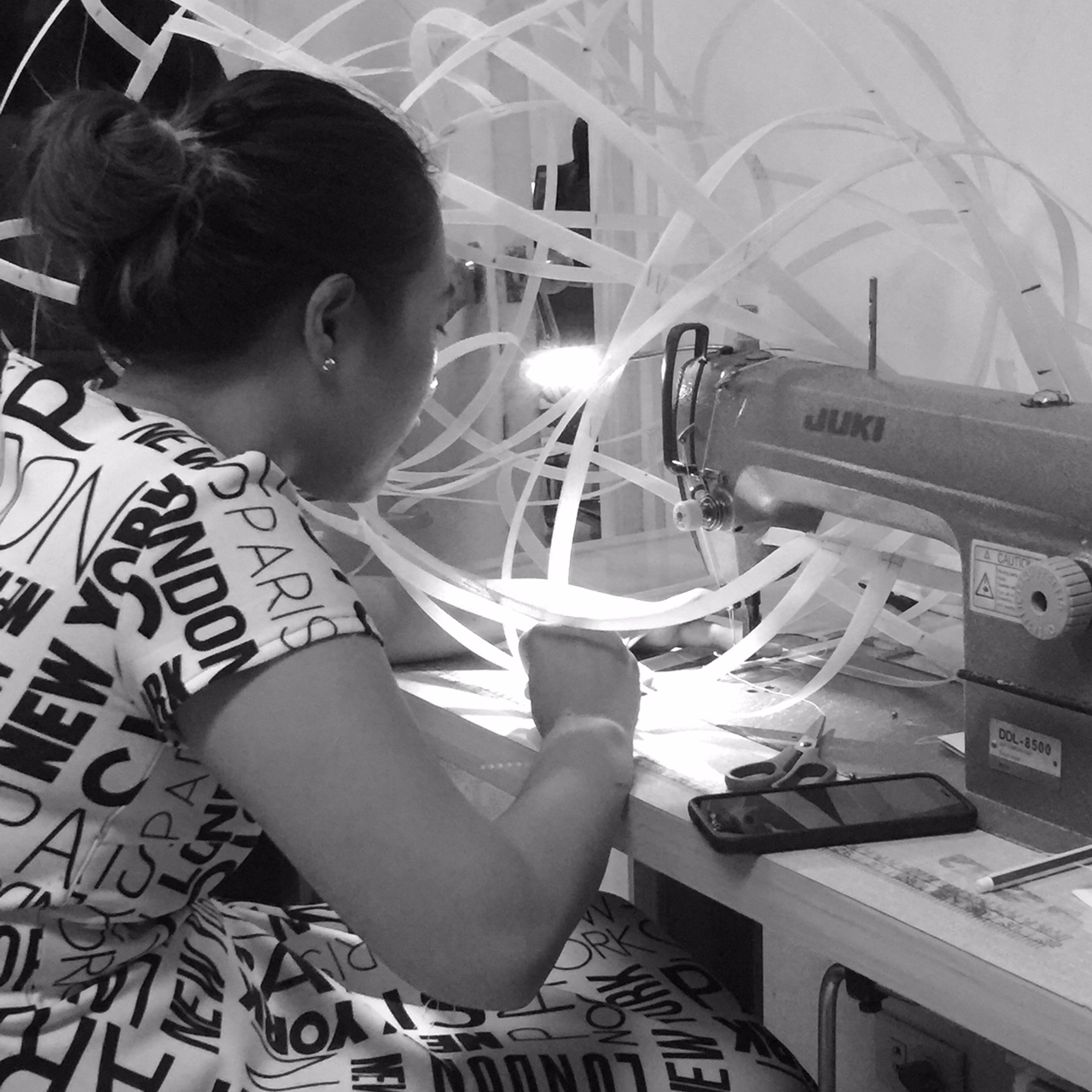Our couturier sewing the crinoline for the finale dress!