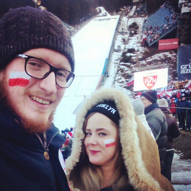 Me and my husband at the ski jumping hill  Wielka Krokiew  in Zakopane, January 2015