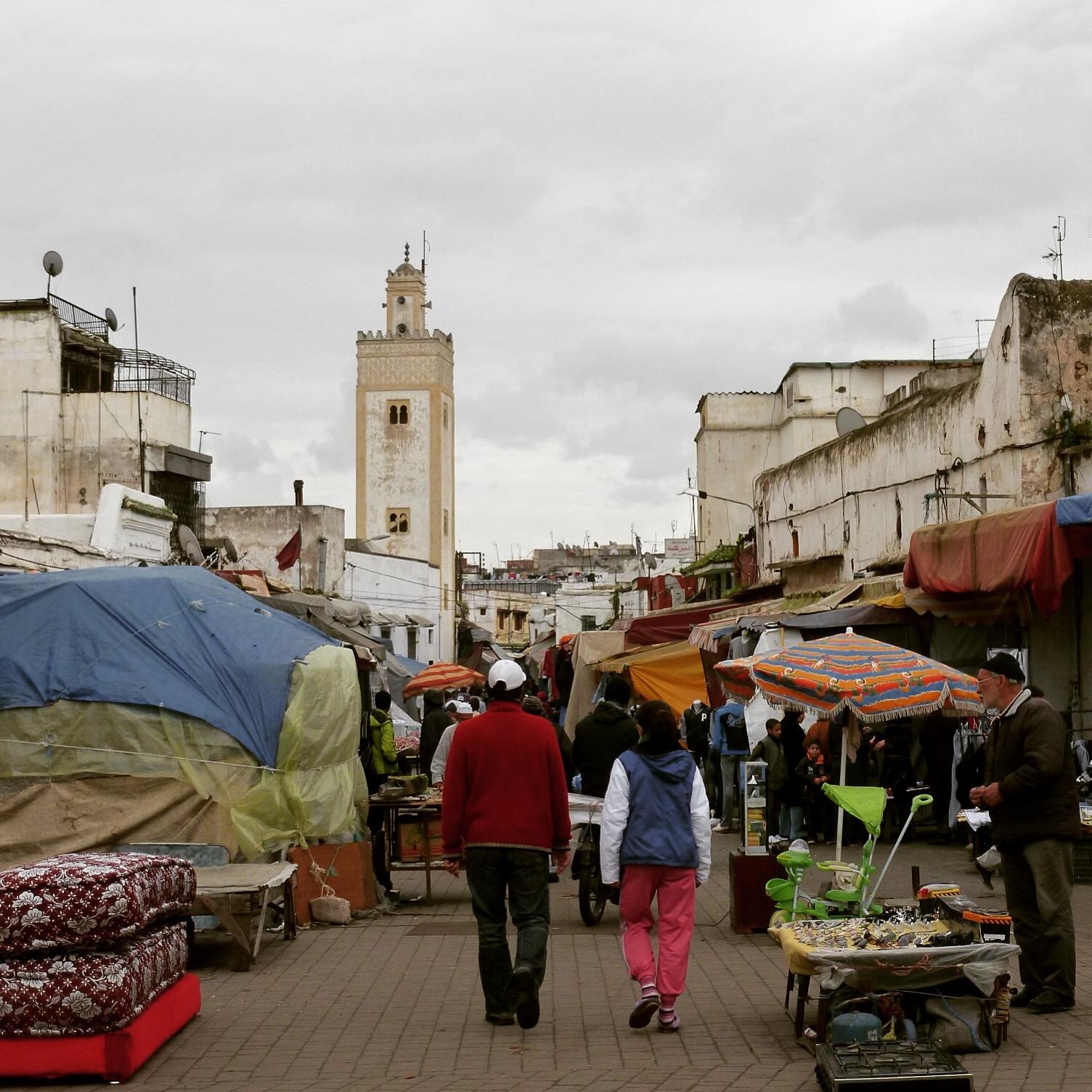 Shopping in Rabat on a cloudy January day