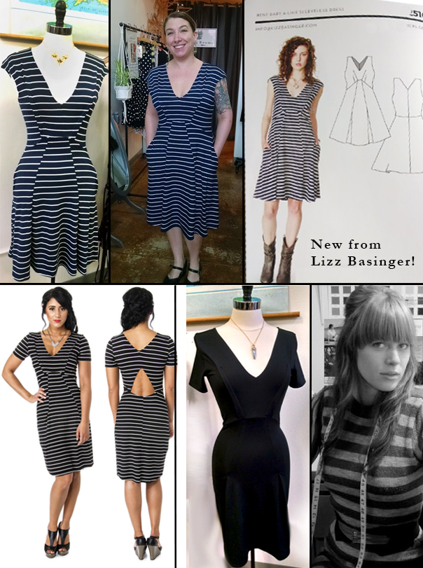 Top: Striped Double V Dress with swinging A-line skirt and pockets because you know we love the.  $159  Bottom: Bent Dart Date Dress in blackest black with a sexy cutout. $149