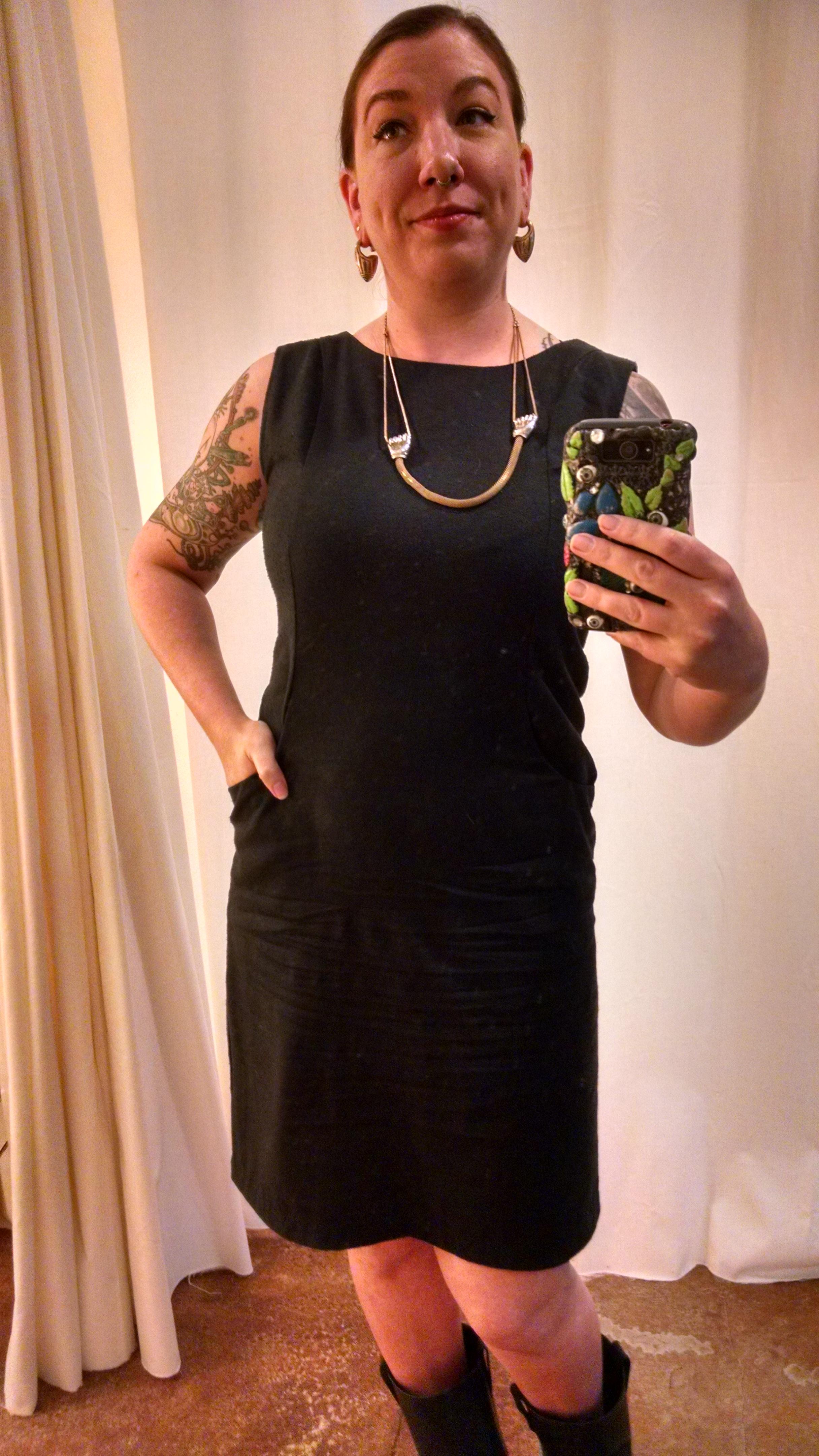 Raw silk, pockets, black.  Perfect.