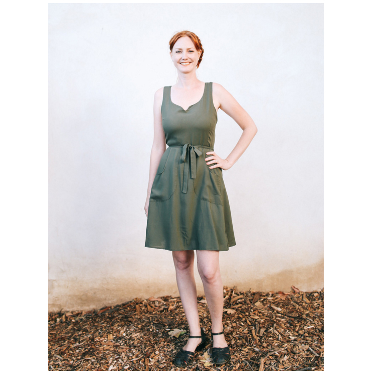 Olive Wrap Dress (S-XL, $83)