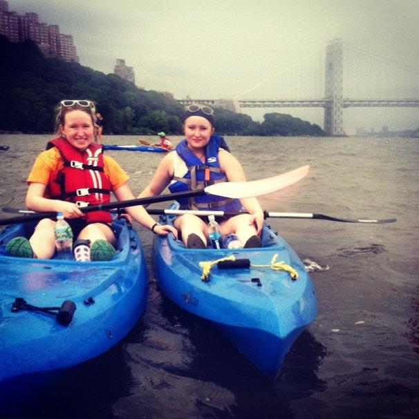 Erin and Mary at the turnaround near the George Washington Bridge.