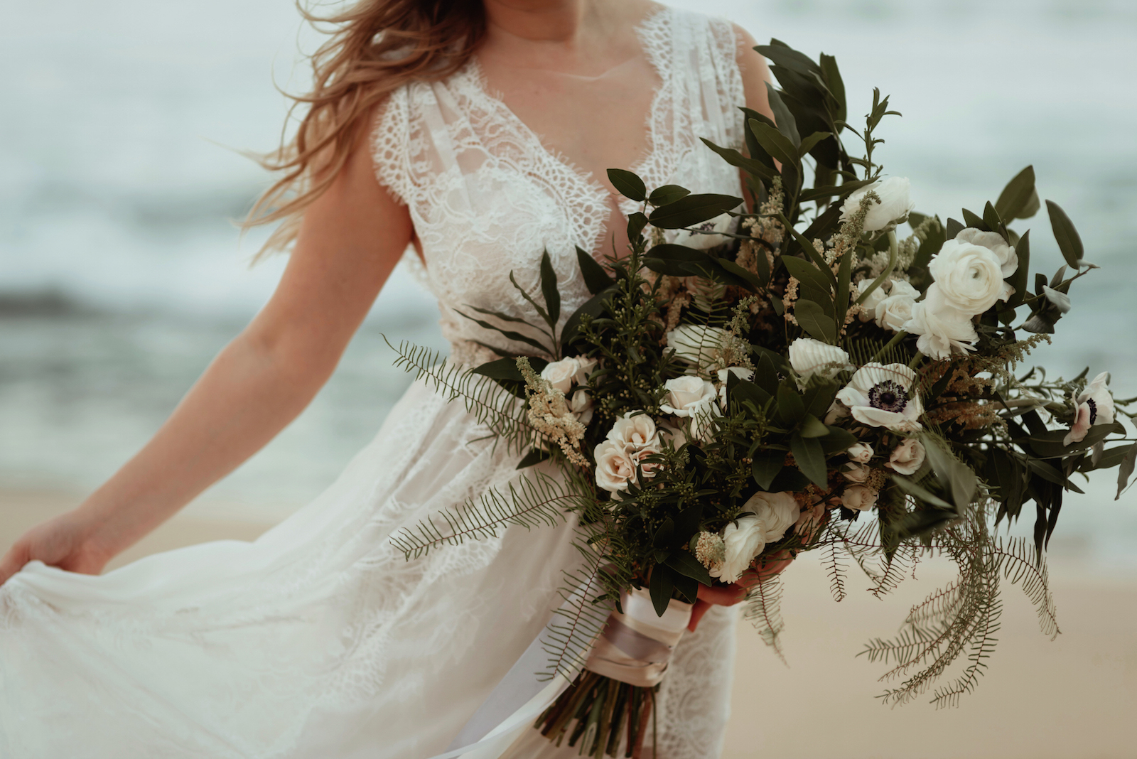 Lace and a Freshly Picked Bouquet are Boho Essentials