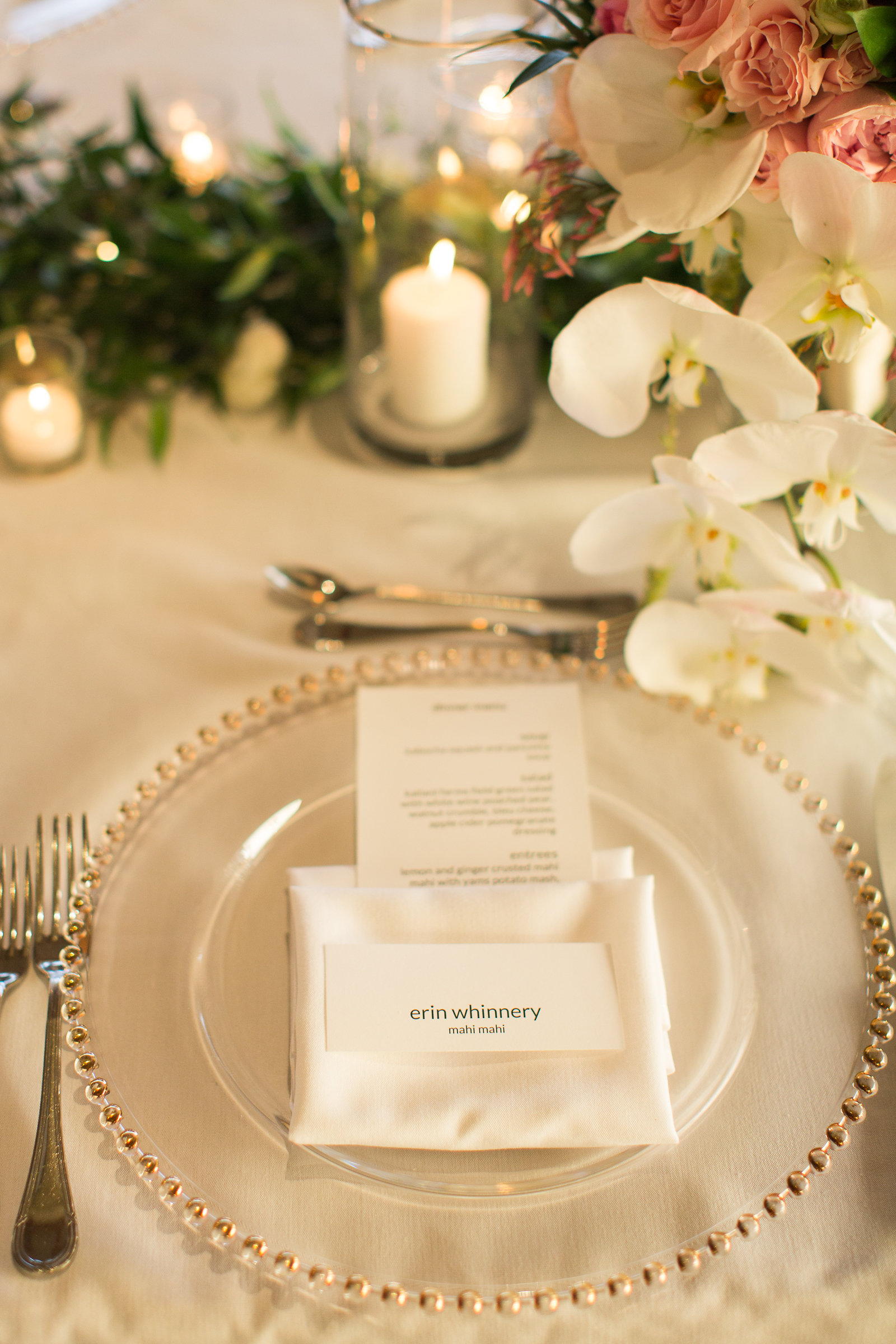 Elegant Table Setting with Warm Candle Light