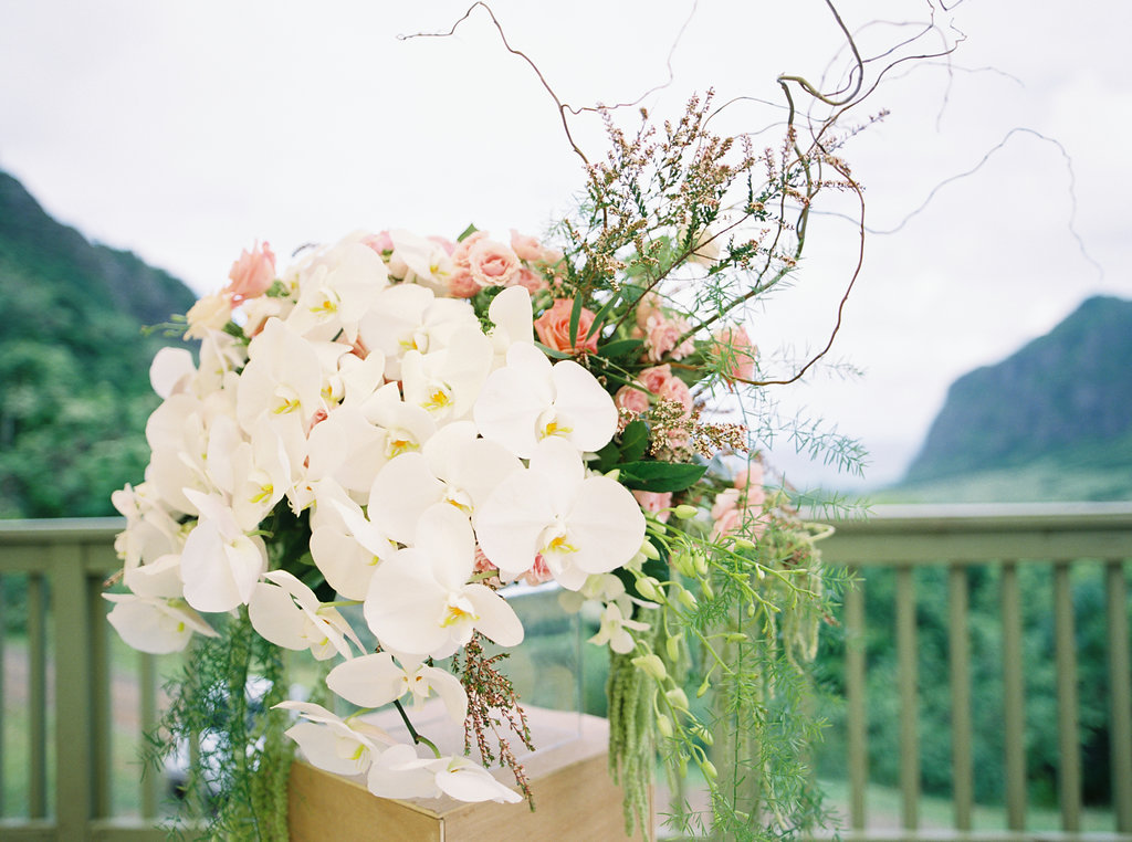 Modern Boho Flower Arrangements of Orchids and Roses
