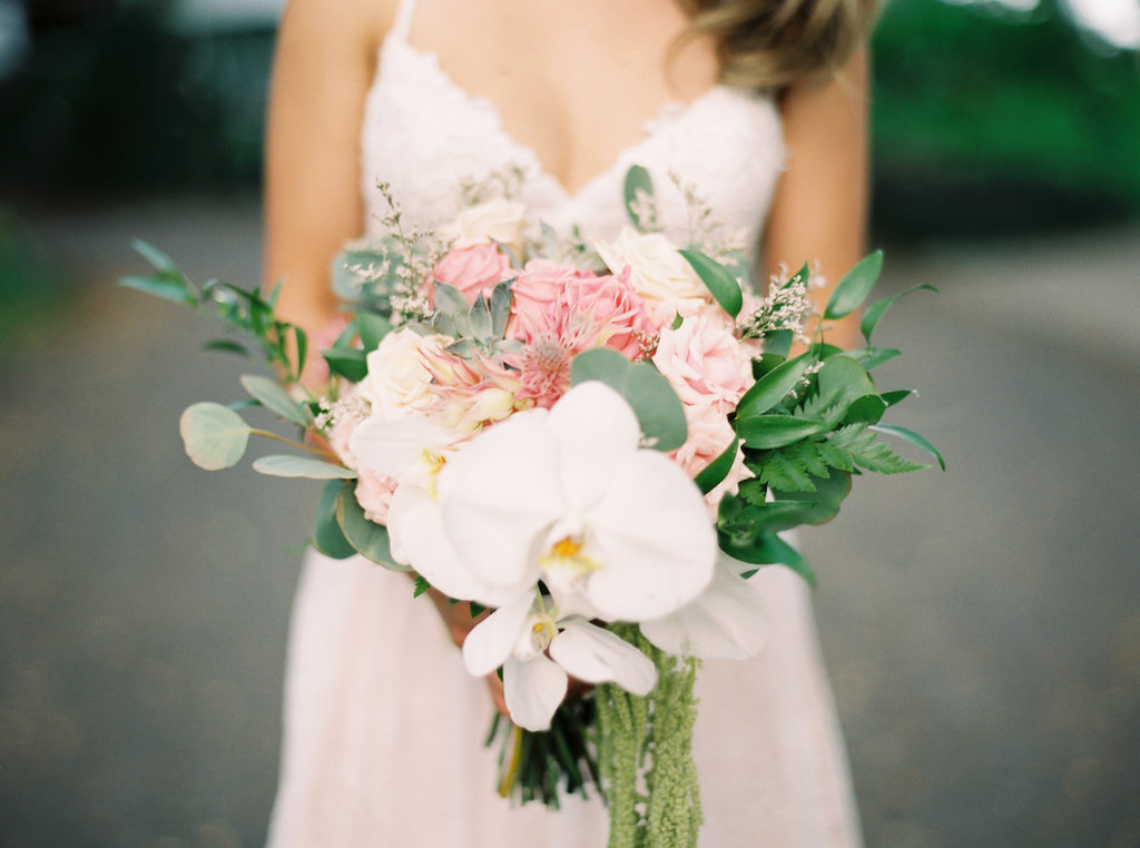 Boho Bridal Bouquet Made of Orchids and Roses