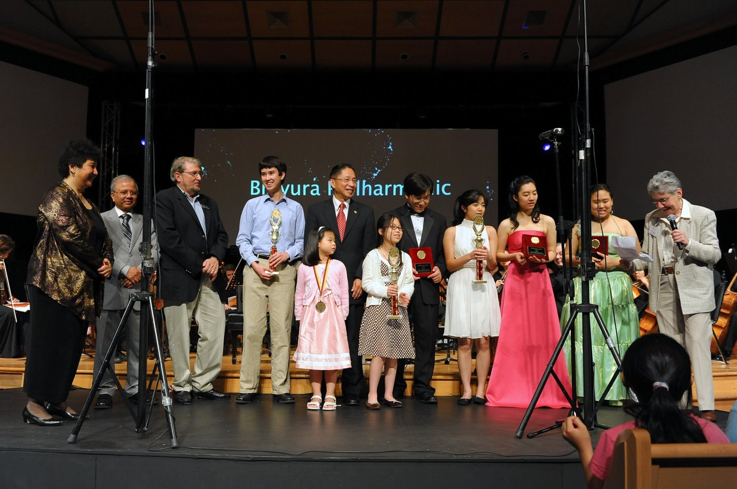 Award Presentation of Winners      Back Row - Maestra Lin, Plainsboro Councilman Nabi, Plainsboro Deputy Mayor Lewis, Paul von Autenried, West Windsor Mayor Hsueh, Andrew Sun, Christine Shieh, Cheryl Peng, Sunny Chang and Myrna Reiter Front Row - Crystal Chiu and Gabrielle Hsu