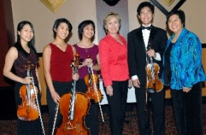 Maestra Lin, Hillary Clinton, and the Bravura String Quartet Taylor Lee and Constance Lin Kaita, Violinists Jennifer Hsu, Violist Courtney Lin Kaita, Cellist