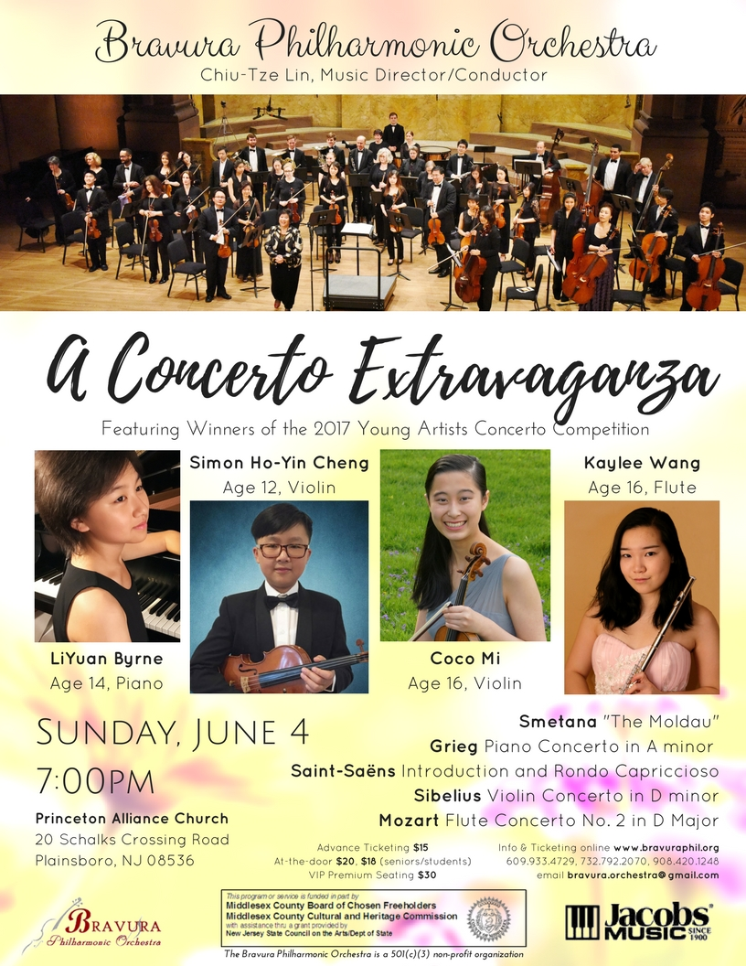 """June 4, 2017 Season Finale Concert - Featuring10th Young Artists Concerto CompetitionLiYuan Byrne, age 14, pianoSimon Ho-Yin Cheng, age 12, violinCoco Mi, age 16, violinKaylee Wang, age 16, fluteProgramSmetana """"The Moldau""""Grieg Piano Concerto in A minorSaint-Saens Introduction and Rondo CapricciosoSibelius Violin Concerto in D minorMozart Flute Concerto No. 2 in D major"""