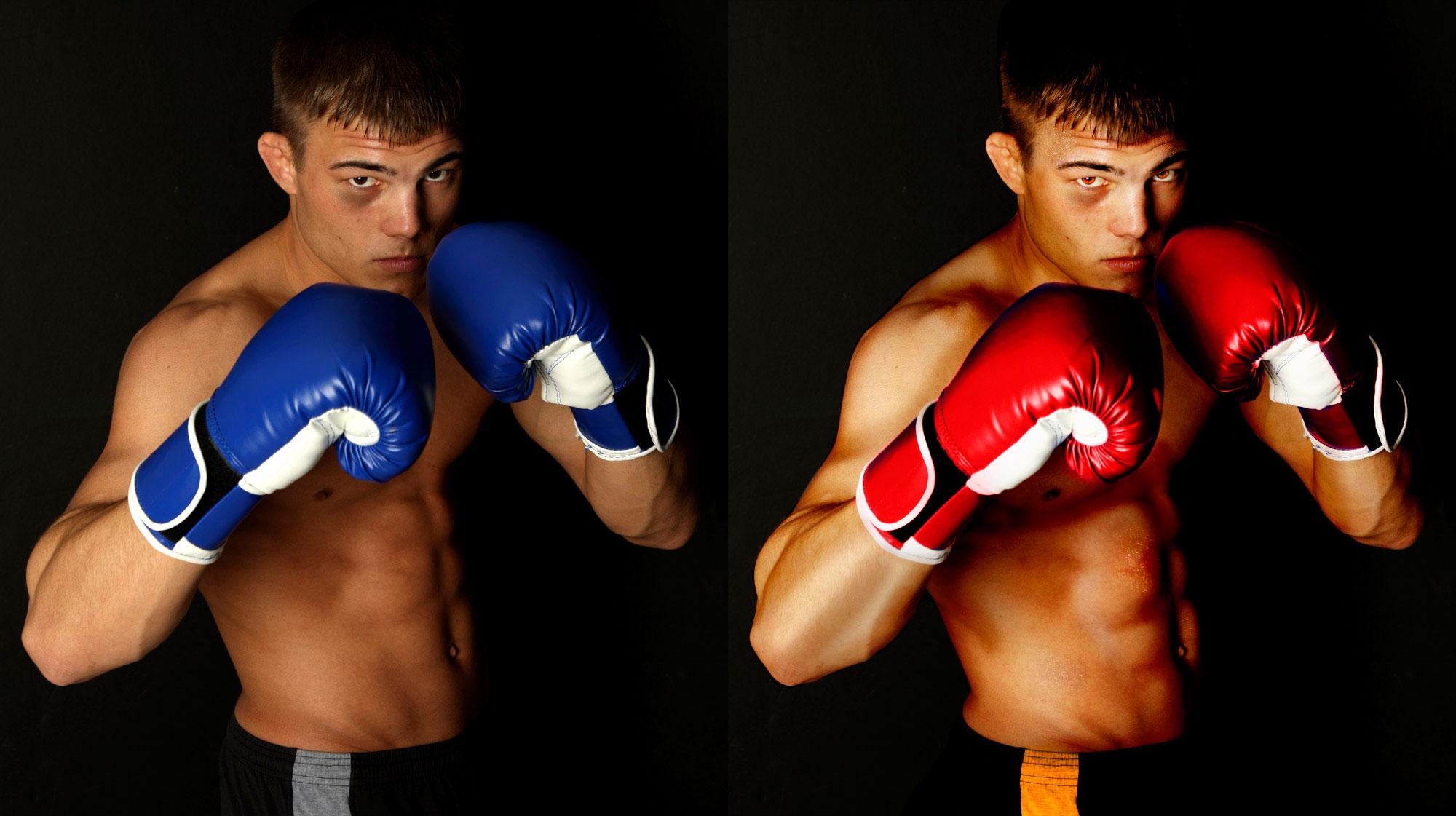 Original image and image edit to enhance boxer