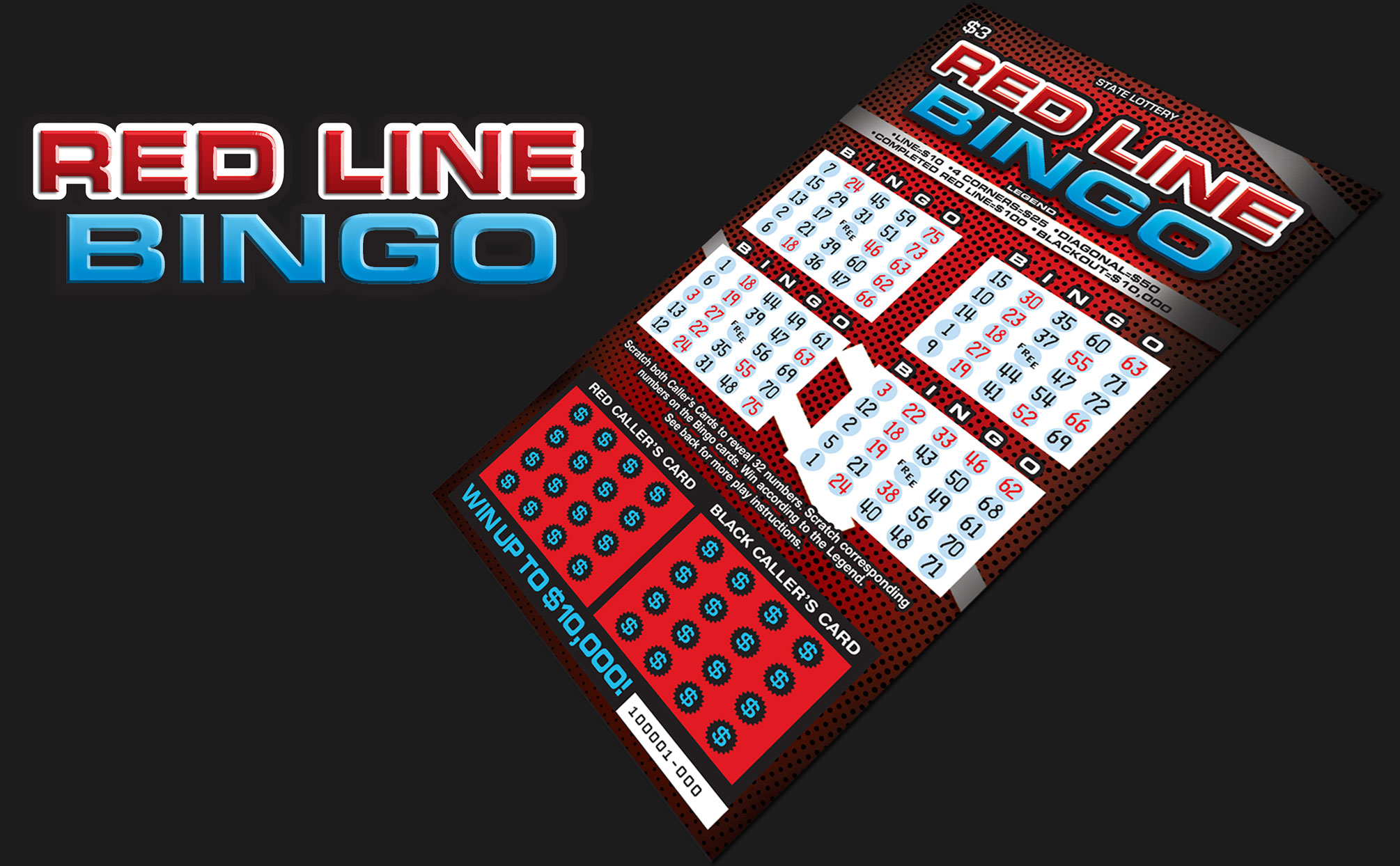 Red Line Bingo lottery ticket concept which ran in Delaware lottery.