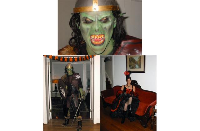 Brian as an ork from L.O.T.R. and I'm an old west saloon girl.