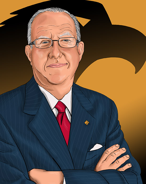 Illustration of Ron Paul, CEO of Eagle Bank.