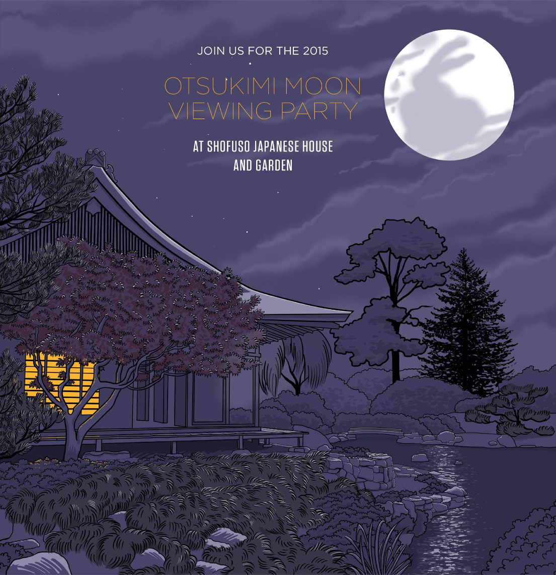 Illustration for the 2015 Otsukimi Moonviewing Party at Shofuso Japanese House and Garden.