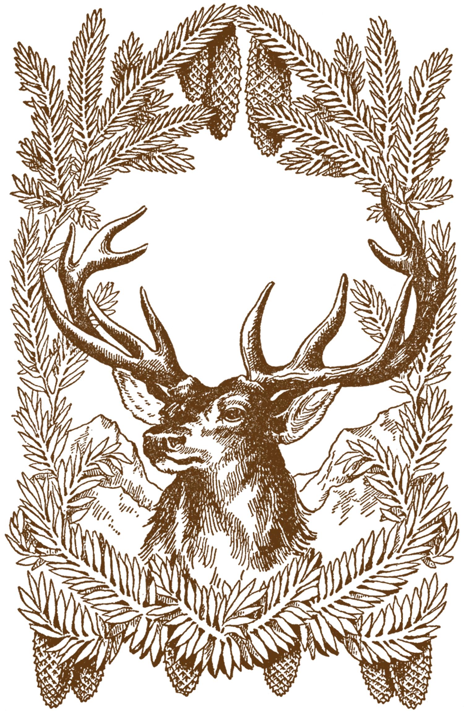 Vintage holiday deer art - unknown artist.