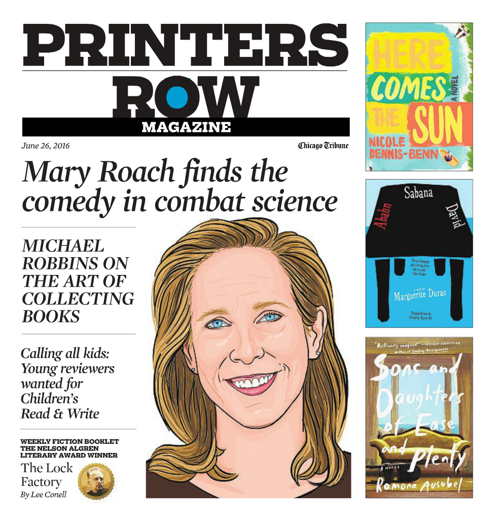 Printers Row Magazine cover featuring illustrated portrait of Mary Roach.