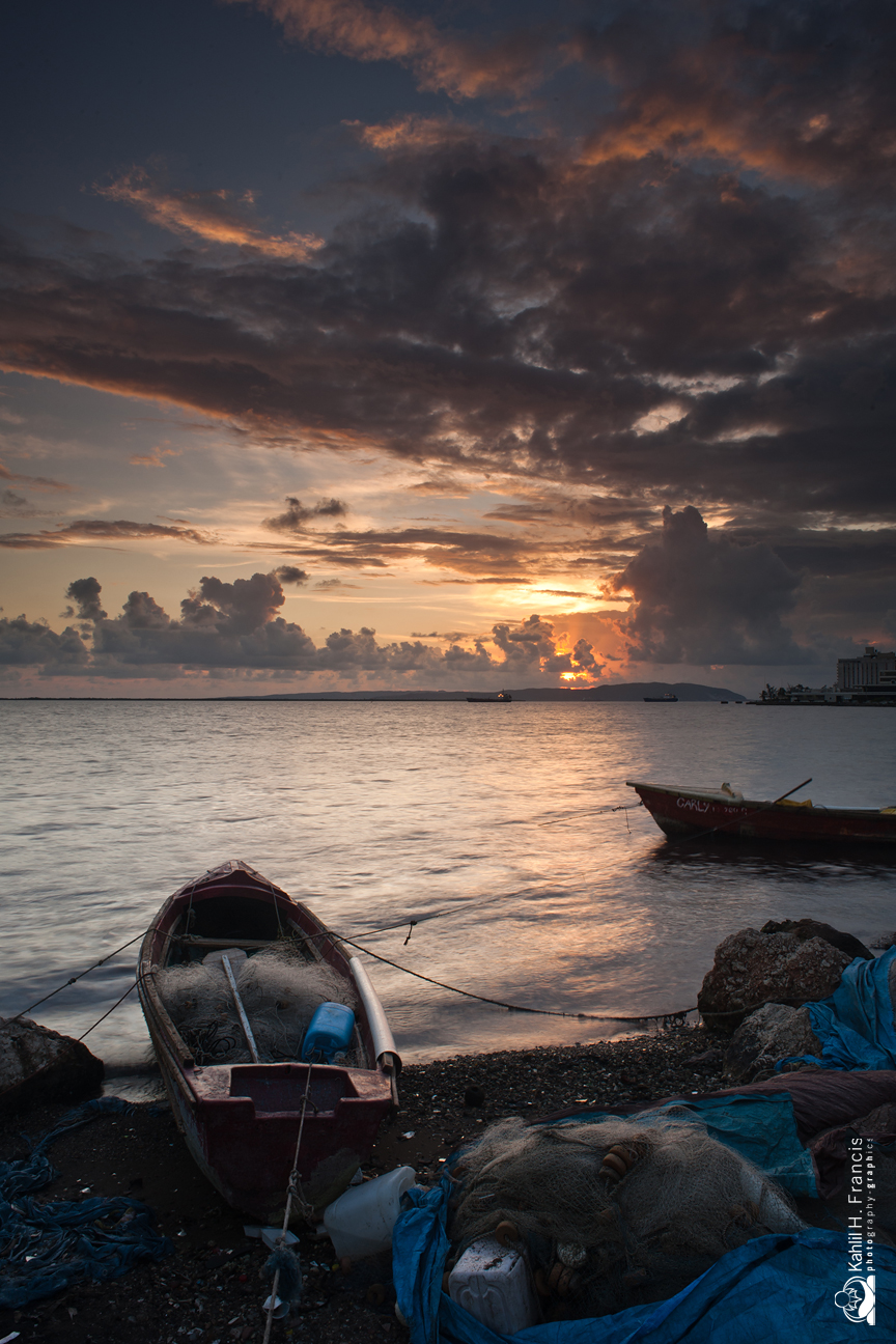 Fishing Net, Boat and Sky